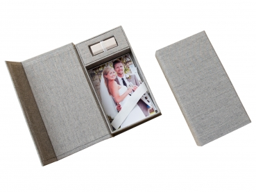 hochzeit usb aufbewahrungsbox mit foto box leinenstoff grau ohne usb stick hochzeit dvd cd. Black Bedroom Furniture Sets. Home Design Ideas