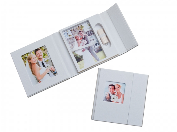 hochzeit usb case mit fotobox kunstleder weiss ebay. Black Bedroom Furniture Sets. Home Design Ideas
