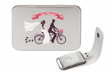 "Hochzeit USB-Stick ""You & Me"" mit Metal Box ""Just Married"""