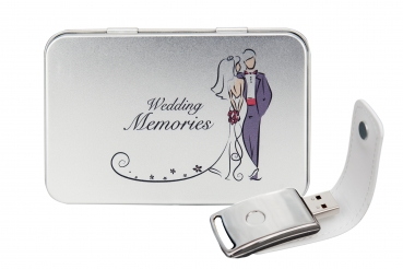"Hochzeit USB-Stick ""You & Me"" mit Metal Box ""Wedding Memories"""